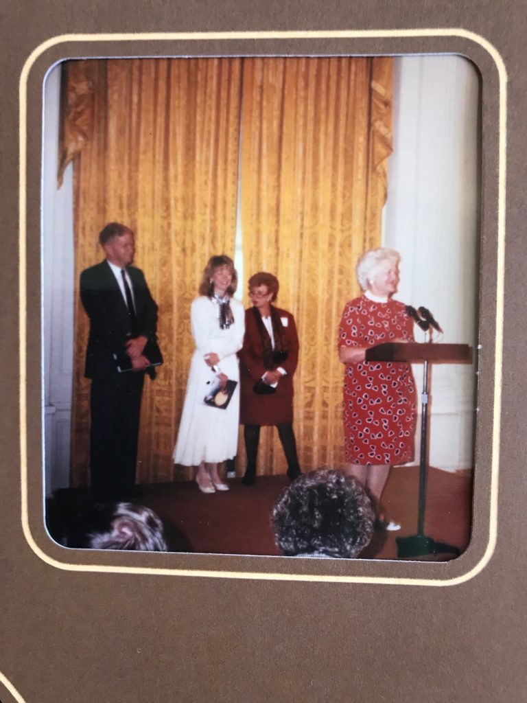 Barbara Bush presenting